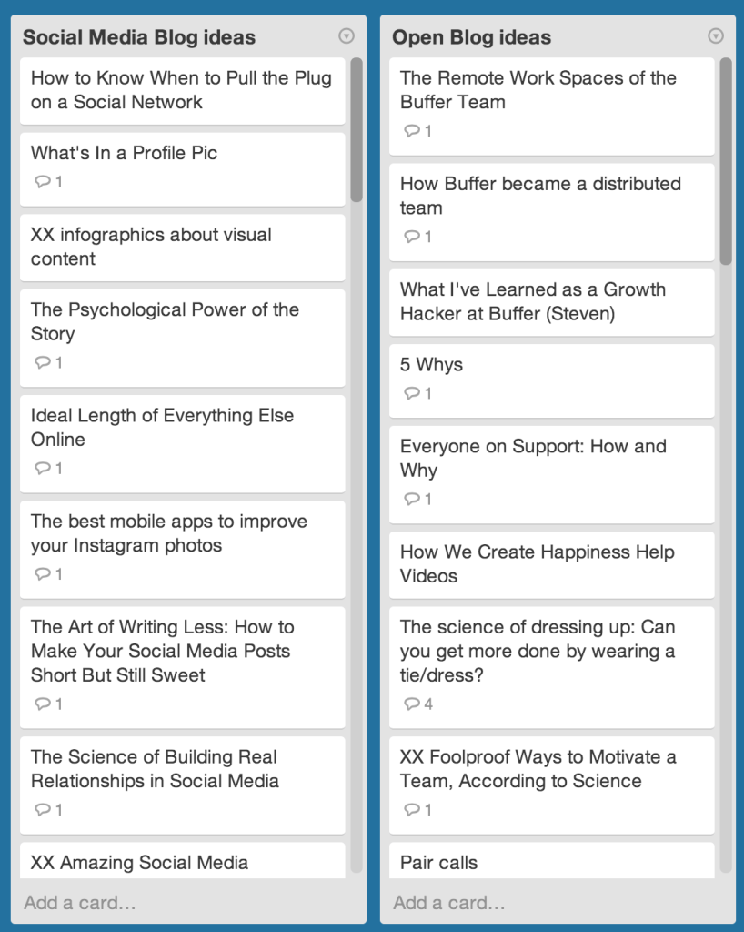 Trello board ideas